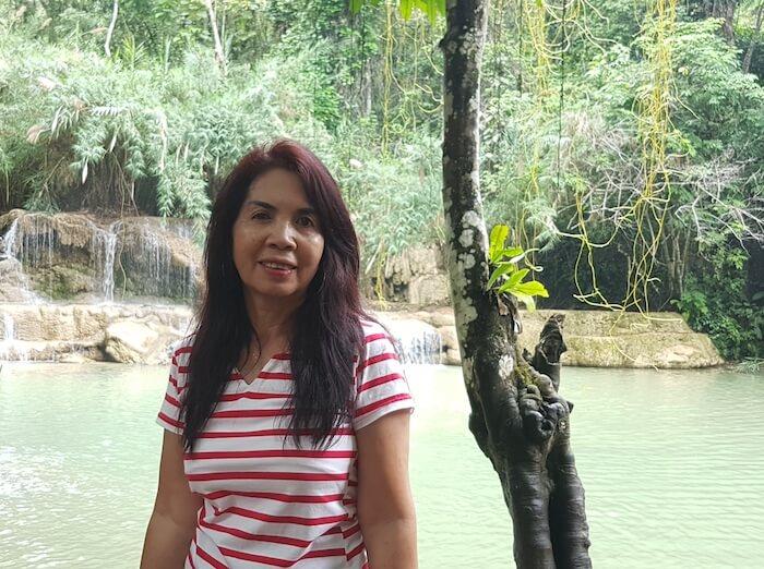 Tassy at Kuang Si Waterfall.