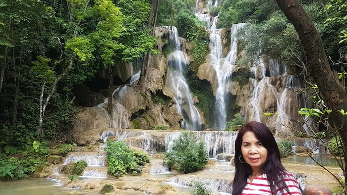Tassy in front of the waterfall.