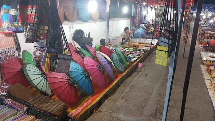 Umbrellas of all colours in the Luang Prabang night market.