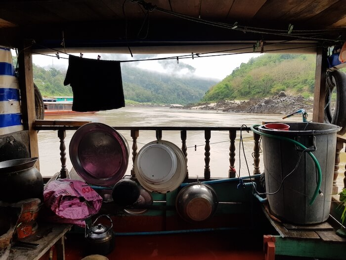 A view from the rear of a houseboat moored at Pak Beng.