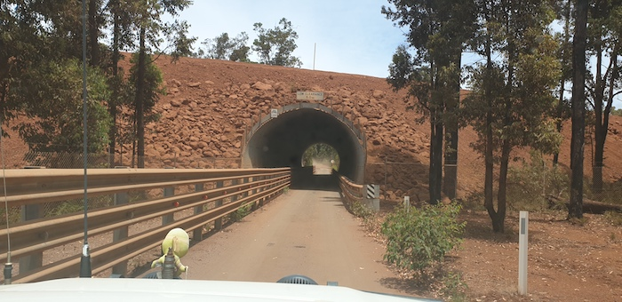 This tunnel on Nanga Road separates Willowdale mine traffic from traffic on Nanga Road.