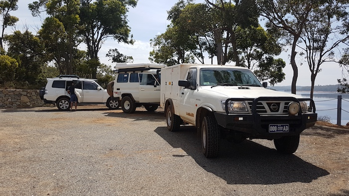 Pajero, Troopy and Patrol at North Dandalup Dam Lookout.