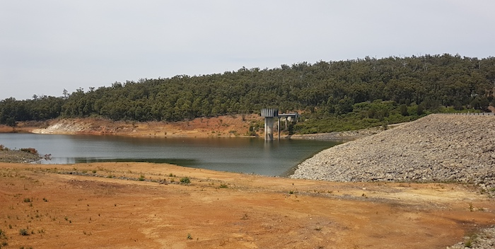 Lake Banksiadale water level is low at South Dandalup Dam.