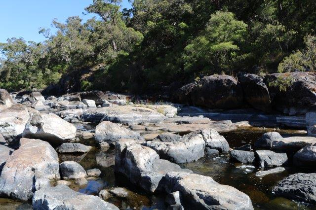 Low water level in the Frankland River at Circular Pool.
