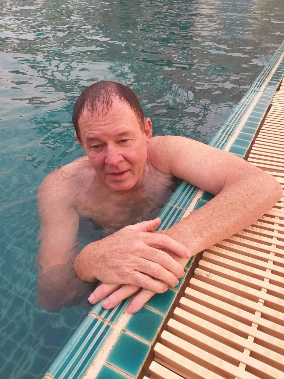 Kim in the hotel pool.