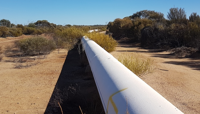 A section of Mundaring-Kalgoorlie pipeline at Karalee.