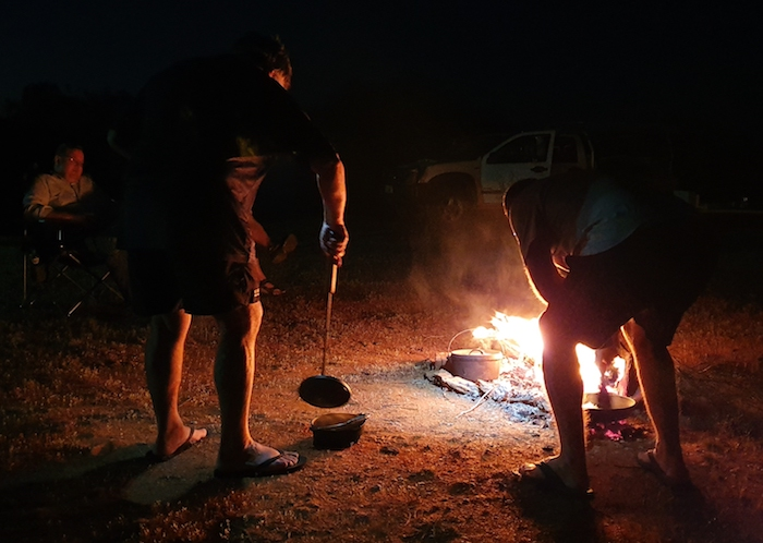 Mike cooking with his camp oven.