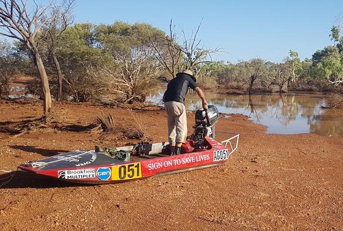 Greg preparing boat.