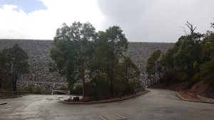 The wall of the North Dandalup Dam.