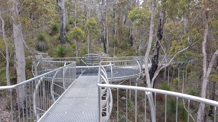 The stainless steel walkway was built on the side of Little Mount Frankland.