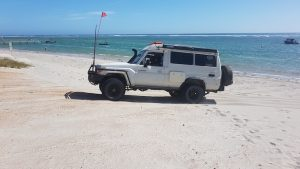 Brad and Julie leaving Horrocks Beach in the Troopy