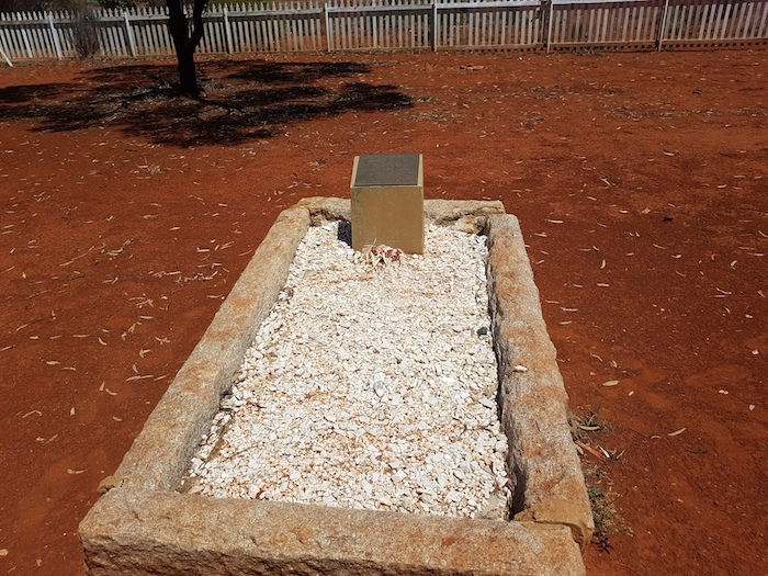 Grave of R.J. Holland, goldfields pioneer whose team pushed through a track from Broomehill to Coolgardie over a five month period. It is now known as the Holland Track