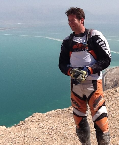 Ehud at cliff overlooking the Dead Sea.