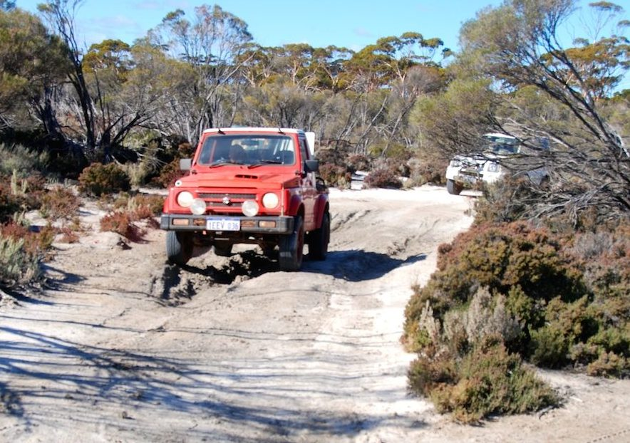 Cliff in his Maruti Gypsy King just before Emu Rocks.