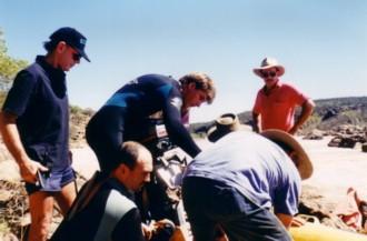 Prepping the retrieval boat.