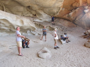 Jeff, Henry, Harrison, Daniel, Kim, Ayesha and Tony in the 'cave'.