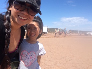 Cherry and Ayesha at the salt lake bogging.