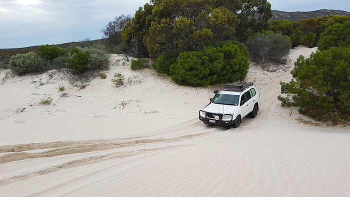 Phil drives up to top of dunes.