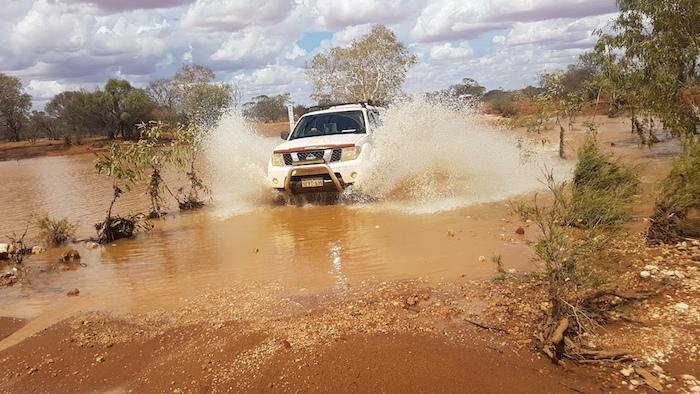 Mushy takes his Navara across Milly Milly Crossing.