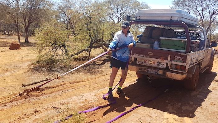 Matt pulls in Aaron's winch rope.