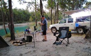 Tim preparing dinner.